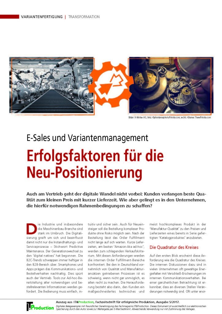 Fachbeitrag der it-motive in it&production: E-Sales und Variantenmanagement