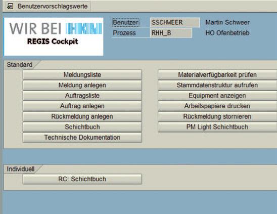 REGIS Cockpit Hauptmenü Benutzervariante