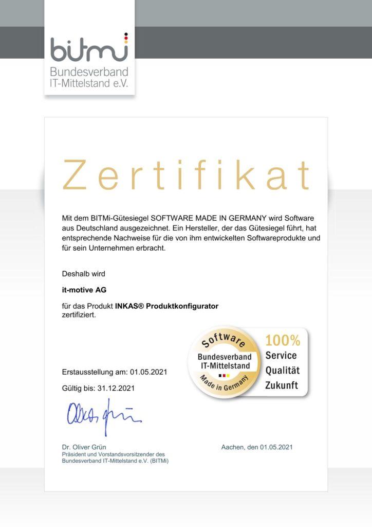 Zertifikat INKAS® Produktkonfigurator